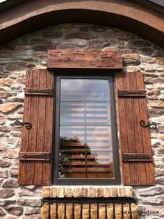 Our shutters are available in a variety of wood species - Pecky Cypress (in… (rustic windows and doors wood shutters) Outdoor Shutters, Cedar Shutters, Rustic Shutters, House Shutters, Diy Shutters, Black Shutters, Exterior Shutters, Homes With Shutters, Windows With Shutters