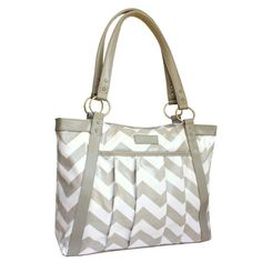 Sale - Less than perfect - Chevron Laptop Bag in Gray and White Chevron - Laptop Bag, Laptop Tote, Coated Canvas and Vegan Leather
