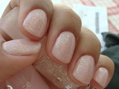 Nude pink nails w/ glitter. my kind of nails :) Essie, Hair And Nails, My Nails, Fall Nails, Winter Nails, Glittery Nails, Pink Glitter, Pink Sparkles, Glitter Party
