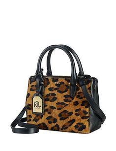 Lauren Ralph Lauren Newbury Leopard Haircalf Mini Double Zip Satchel Ralph  Lauren Handbags f8531bfa906ab