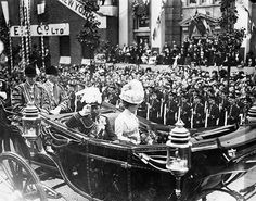 King George V and Queen Mary passing along Westminster Bridge Road, during their Coronation Celebrations, June, 1911.
