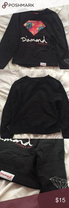 Diamond Supply Co. Crew Neck Sweatshirt Diamond Supply Co. sweatshirt with tropical print in good condition Diamond Supply Co. Tops Sweatshirts & Hoodies