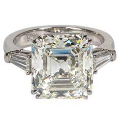 Emerald Cut Diamond Engagement Rings In Platinum 7 Engagement Ring Carats, Unusual Engagement Rings, Platinum Engagement Rings, Perfect Engagement Ring, Vintage Engagement Rings, Platinum Ring, Solitaire Engagement, Gold Diamond Wedding Band, Diamond Rings