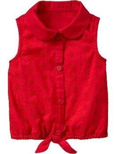 Eyelet Tie-Waist Tops for Baby - bring back memories on what i use to wear Stylish Dresses For Girls, Frocks For Girls, Kids Frocks, Little Girl Dresses, Outfits For Teens, Cute Outfits, Frocks And Gowns, Kids Dress Wear, Kids Fashion