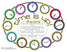 Time is Up telling time game :: *Bunting, Books, and Bainbridge*: Math, Math, Math. and a revised freebie! Second Grade Math, First Grade Math, Third Grade, Fourth Grade, Teaching Time, Teaching Math, Teaching Ideas, Math Classroom, Kindergarten Math
