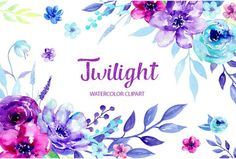 Watercolor Clipart Twilight - blue and purple flowers, decorative elements and flower posies for instant download. They perfect for making DIY wedding invitations, blog header, floral