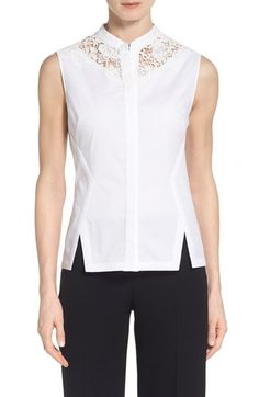 Elie Tahari 'Nora' Lace Yoke Blouse available at #Nordstrom