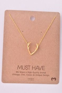 Antler Necklace: Gold PlatedVery Danty a Fashion JewelryLength: 16