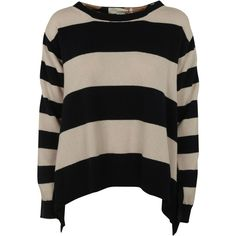 Stella McCartney Wide Stripes Sweater (955 BAM) ❤ liked on Polyvore featuring tops, sweaters, shirts, curved hem shirt, drop shoulder tops, boat neck shirt, stella mccartney and bateau neck sweater