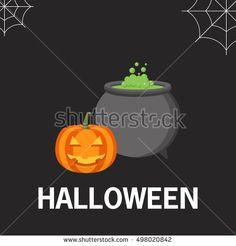 Happy Halloween party poster with smiling pumpkin head jack. A vector flat style with the text and pumpkin with the raging cauldron. The leaflet, a banner, a poster, for the holiday Halloween.