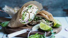 Kyllingwrap med aioli og lime – Ida Gran-Jansen Aioli, Wrap Sandwiches, Fresh Rolls, Food To Make, Food And Drink, Lime, Wraps, Lunch, Frisk