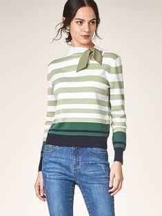 YINER音儿 2018秋季新款时尚间色条纹羊毛针织衫女套头8C58306510-tmall.com天猫 Knitting, Sweaters, Tops, Women, Fashion, Knitting Sweaters, Moda, Tricot, Fashion Styles