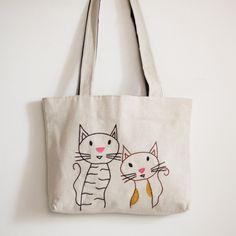 eb9585f85c cats tote bag / grocery bag / hand embroidered bag / от NIARMENA  Embroidered Bag,