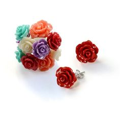Bling Jewelry Bling Jewelry Silver Plated Resin Rose Stud Earrings... ($38) ❤ liked on Polyvore featuring jewelry, earrings, multiple colors, rose stud earrings, silver plated earrings, multi colored stud earrings, multi color earrings and flower earrings