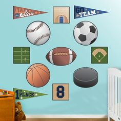 Sports Collection REAL.BIG. Fathead – Peel & Stick Wall Graphic | Sports Nursery Decor