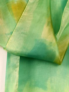 Your place to buy and sell all things handmade Painted Silk, Hand Painted, Scarf Ideas, Green Silk, Silk Painting, Silk Scarves, Scarf Styles, Pistachio, I Shop