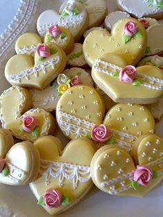 Tea Party Heart Cookies 24 Pcs for Wedding Bridal Shower Fancy Cookies, Heart Cookies, Valentine Cookies, Cute Cookies, Easter Cookies, Royal Icing Cookies, Sugar Cookies, Elegant Cookies, Valentines