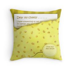 'Cheesy News: Have Something to Tell?' Throw Pillow by We ~ Ivy Face Towel, Presents For Friends, Baby On The Way, Good Cause, Hand Towels, To Tell, Ivy, Finding Yourself, Told You So