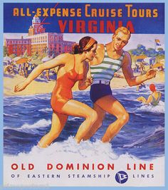 Virginia Beach Fun Cruise Tours Vintage Repro Poster |
