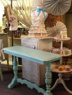 Sideboard table painted by Jodie Landry of Pieces - Surfboard