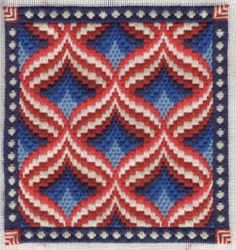 patriotic needlepoint | This variation on the pomegranate pattern is done in patriotic colors ...