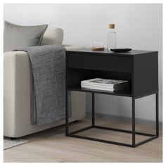 IKEA - VIKHAMMER, Nightstand, black, The drawers close silently and softly, thanks to the integrated soft-closing function. Console Metal, Metal Nightstand, Nightstands, Bedroom Desk, Bedroom Furniture, Home Furniture, Furniture Ideas, Bedside Table Ikea, Black Bedside Tables