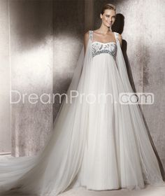 Glamorous Empire Sweetheart Floor-Length Watteau Train Tulle  Wedding Dresses