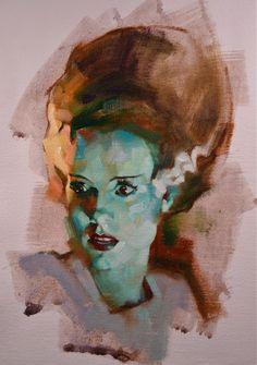 "Greg Manchess illustration of Elsa Lanchester in her ""Bride of Frankenstein"" movie role."