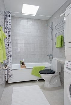 Grey Bathroom With Lime Green Towels Which Could Be Eggplant Persimmon Or Anything