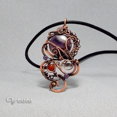 Hammered copper wire pendant with Amethyst and Carnelian beads - pinned by pin4etsy.com
