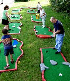 Portable Miniature Golf Rentals in Chattanooga, TN Backyard Games, Outdoor Games, Outdoor Fun, Rock Games, Miniature Golf, Putt Putt, Castle Rock, Diy Games, Outdoor Entertaining