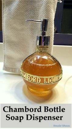 How to reuse and recycle a glass Chambord liquor bottle into an unique pump soap dispenser Crafts For Teens To Make, Crafts To Sell, Diy And Crafts, Farm Crafts, Simple Crafts, Liquor Bottle Crafts, Liquor Bottles, Empty Glass Bottles, Aroma Essential Oil