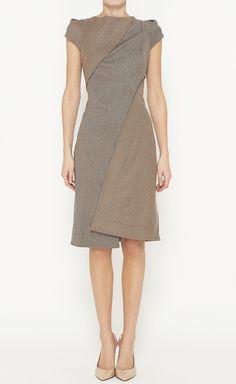 Zac Posen Grey And Tan Dress