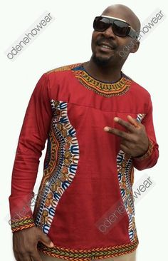 Odeneho Wear Men's  Polished Cotton Long Sleeves Top With Dashiki Design.