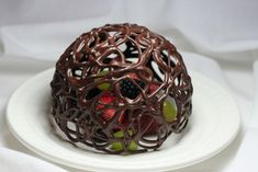 Chocolate desert dome with fresh fruit-beautiful presentation