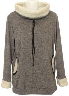 Damen Sweat-Shirt mit Teddyfell-Kragen. Einheitsgröße/bis Größe 40 Made in Italy