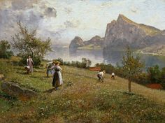 Hay harvest over the Chiemsee - Joseph Wopfner (1843-1927) (Expressionism)