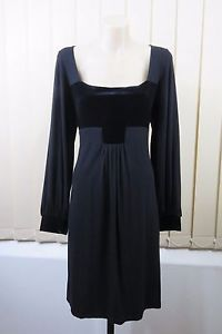 Size L 14 George Ladies Black Shift Dress Cocktail Business Goth Velvet Vintage | eBay