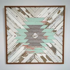 Wood Profits Reclaimed Wood Aztec Pattern by RustedWillowArtworks on Etsy - Southwestern Decorating, Southwest Decor, Woodworking Projects, Diy Projects, Teds Woodworking, Reclaimed Wood Projects, Creation Deco, Pallet Art, Barn Quilts