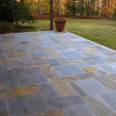 Stone makes a great patio surface. Durable and colorful, too!
