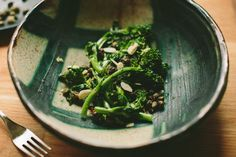 Garlicky Broccoli Rabe with Almonds and Fried Capers | A Thought For Food