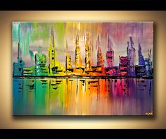 Abstract art poster on photographic paper. Size: Type: Poster on acid-free high-quality photographic paper. Canvas Art - Stretched, Embellished & Ready-to-Hang Print - Skyfall - Art by Osnat Modern cityscape painting by the artist Osnat Tzadok. City Painting, Oil Painting Abstract, Acrylic Painting Canvas, Abstract Canvas, Canvas Art, Acrylic Art, Skyline Painting, Ocean Canvas, Tiger Painting