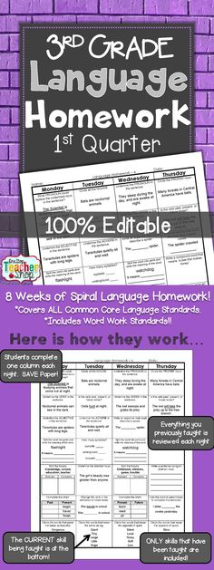 Spiral Language Homework, Morning Work, or Centers for the ENTIRE 1st Quarter of THIRD GRADE! Aligned with 3rd grade Common Core Language standards {Grammar & Word Study}. These sheets are 100% EDITABLE, and come with answer keys. Paid
