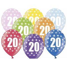 Ballonnen 20 met sterretjes 6x. Sterke gekleurde ballonnen met het cijfer 20 en sterretjes print. Formaat ballonnen: ongeveer 30 cm. U ontvang 6 ballonnen.