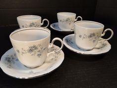 Johann Haviland Bavaria Blue Garland Tea Cup Mug Saucer FOUR MINT! #JohannHaviland