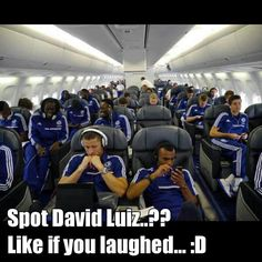 Chelsea fc Lol to funny David luiz is so funny and awesome(he's on the left looking out the window )