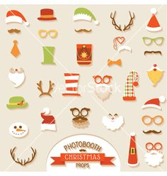 Christmas retro photo booth party set vector - by woodhouse84 on VectorStock®