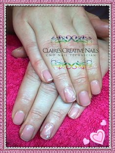 CND Shellac Nude Knickers layered with Grapefruit Sparkle and Konad Heart Stamping on ring fingers. By Claire's Creative Nails, Northampton. Call or text: 07752 397245 to book your appointment. #shellac #northampton #ValentinesDayNails #KonadNailStamping #NailArt #cnd #NailTechnician