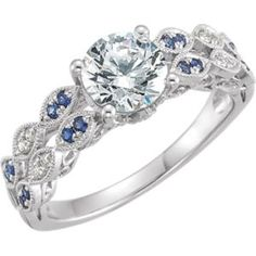 651720 / 14K White / Semi-set / 06.50 mm / Polished / 1/10CTW Dia and Sapphire Semi-mount Eng Ring
