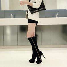 "12cm Sexy DJ Party Flock High Heel Zipper Slip-On Boots Shoes ""Trendy Series"""